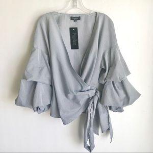 Papillon Gingham Blk White Side Tie Blouse Size XL